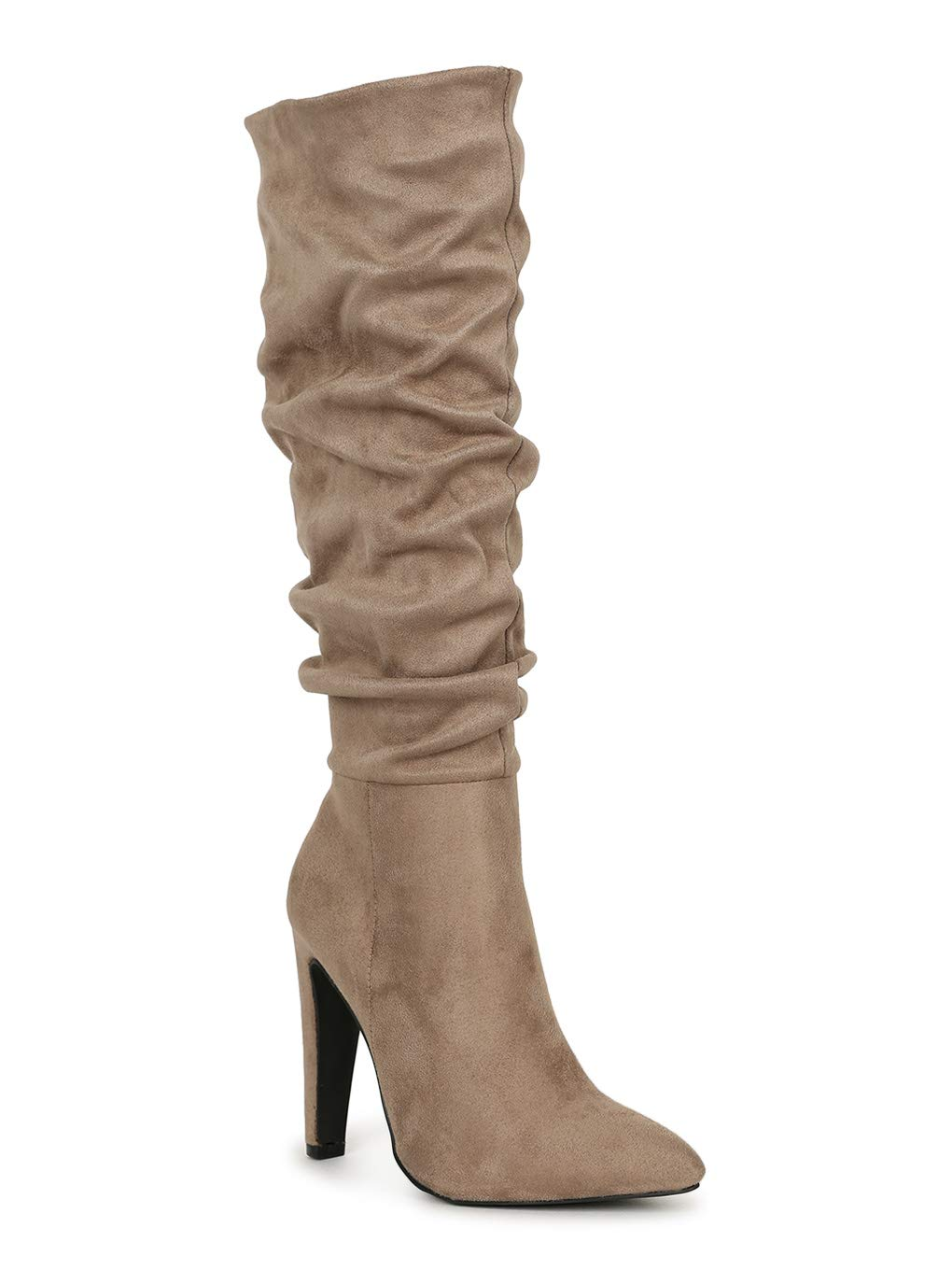 Alrisco Women's Faux Suede Pointy Toe Slouchy Chunky Knee High Boots SG27