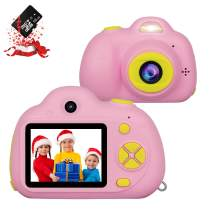 RegeMoudal Kids Camera, Kids Digital Video Camera, 1080P FHD Kids Shockproof Video Camcorder with 2 Inch IPS Screen and 16GB SD Card, Choice for Kids 3-10 Years Old Boys and Girls,Pink