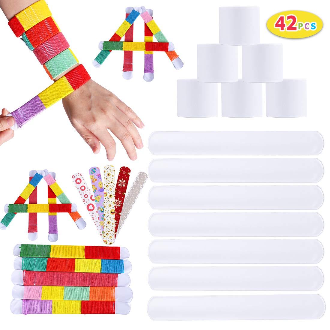 Max Fun 42PCS DIY White Slap Bracelet Bands Party Favors Painting Pat Ring Bracelets DIY Your Own Craft Kit for Kids Boys Girls School Party (Style 1)