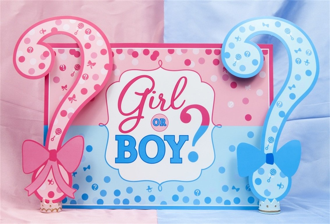 AOFOTO 7x5ft Boy or Girl Baby Reveal Backdrop Pink Blue Dots Question Mark Background Baby Shower Party Cake Dessert Table Decorations Prince or Princess Gender Reveal Oh Baby Photo Shoot Prop Vinyl