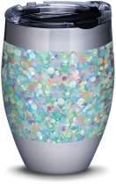Tervis 1311289 Iridescent Confetti Stainless Steel Insulated Tumbler with Lid, 12 oz, Silver