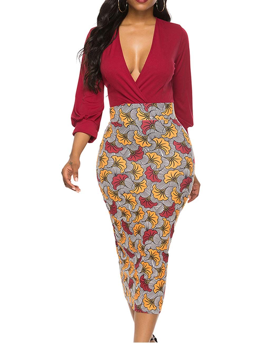YCOOCE Women African Dress Casual V Neck Ruched Party Pencil Dress Cocktail Bodycon Dresses