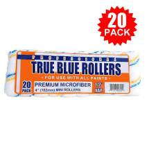 """True Blue Professional 4"""" Paint Roller Covers, Best for All Types of Paint (20, 1/2"""" Nap)"""