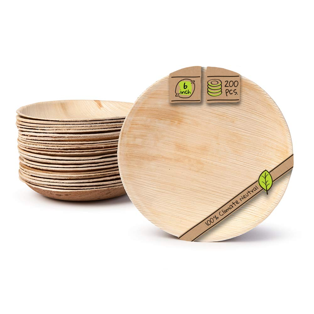 "Naturally Chic Palm Leaf Compostable Plates | 6"" Round Biodegradable Disposable Small Dinnerware Set - Eco Friendly Alternative - Plates for Weddings, Parties, BBQs, Events (200 Pack)"