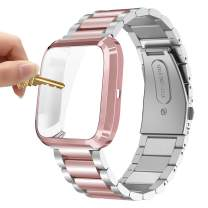 Maxjoy Compatible with Fitbit Versa Bands, Versa 2 Metal Band Large Stainless Steel Bracelet Women Wristband with Protective Cover Case, Compatible with Fitbit Versa 2 1 Smart Watch, Silver+Rose Gold