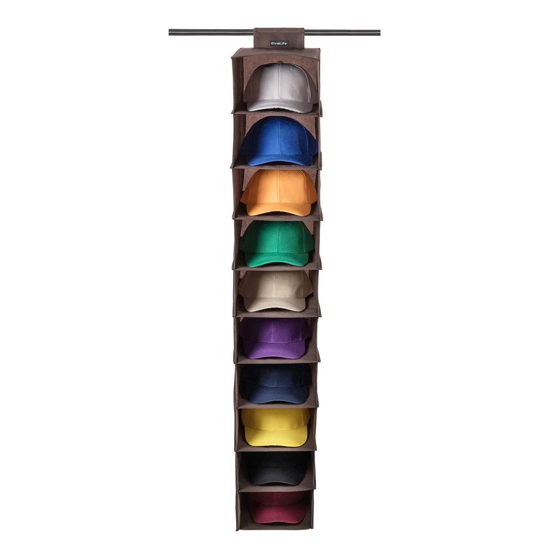 SivaLife Hat Rack,10 Shelf Hanging Closet Hat Organizer- for Hat Storage& Protect Your Caps- Easy Hat Holder & Baseball Cap Organizer (Brown)