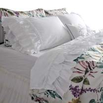 Queen's House French Country White Ruffle Bed Sheets Sets Deep Pocket Queen
