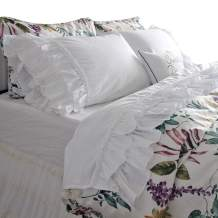 Queen's House French Country White Ruffle Bed Sheets Sets Deep Pocket King