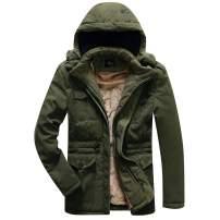 Zcoli Men's Hooded Down Jacket Windproof Faux Fur Lined Windbreaker Coat Winter Outerwear Warm Parka
