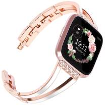 Surace Compatible for Fitbit Versa Bands for Women Bracelet Metal Strap Replacement for Fitbit Versa 2 Bands Versa Lite Bands Smart Watch, Rose Gold Bangle with White Enamel
