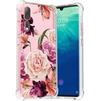 Osophter for Zte Axon 10 Pro Case Floral Cell Phone Flower Cover for Girls Women Shock-Absorption Flexible Cases for Zte Axon 10 Pro(Purple Flower)