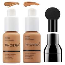 PHOERA Foundation Makeup Set, Firstfly Matte Oil Control Concealer Foundation Cream, Long Lasting Waterproof Matte Liquid Foundation with Mushroon Head(106&108)