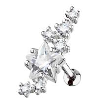 MoBody 16G Lined Cluster CZ Stars with Large Star Center Tragus Earring Stud Surgical Steel Cartilage Helix Piercing