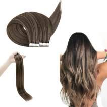 RUNATURE Tape in Hair 14 Inches Color 2P8A Dark Brown Mix Cinnamon Brown 100g (2.5g Per Piece,40Pcs) Skin Weft Hair