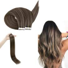 RUNATURE Tape Hair Extensions 20 Inches Color 2P8A Dark Brown Mix Cinnamon Brown 100g (2.5g Per Piece,40Pcs) Skin Weft Hair