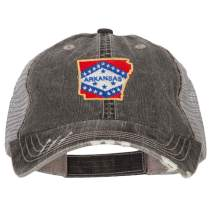 e4Hats.com Arkansas State Map Flag Embroidered Low Profile Cotton Mesh Cap