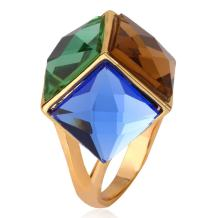 U7 Crystal Ring 18K Gold Plated Diamond Cut Stone Rings, Size 7 to 12