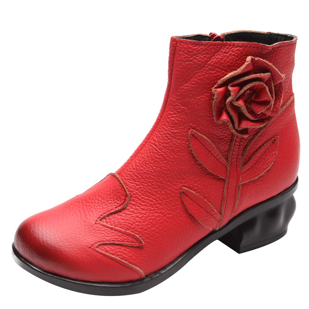 Mordenmiss Women's Handmade Rose Boots Vintage Floral Chunky Oxford Bootie