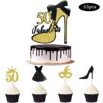 33pcs Black Gold Glitter 50 & Fabulous Cake Topper Fifty and Fabulous Cake Topper Cupcake Toppers Kits for Women Happy 50th Birthday Wedding Celebration Anniversary Cake Decoration