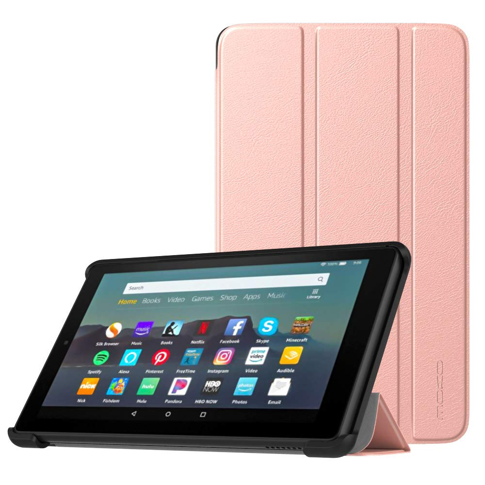 MoKo Case Fits All-New Amazon Kindle Fire 7 Tablet (9th Generation, 2019 Release), Lightweight Slim Shell Shockproof Back Stand Cover with Auto Wake/Sleep - Rose Gold