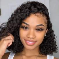 150% Density 13×4.5 Jerry Curly Short Bob Lace Front Wigs Brazilian Human Hair Wigs Water Wavy With Baby Hair For Black Women Natural Black Color On Sale Aura