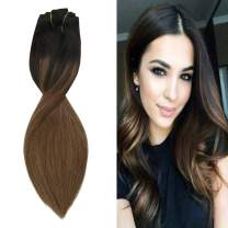 【Money Off】YoungSee 20inch Human Hair Extensions Clip in Natural Black to Medium Brown Ombre Balayage Clip on Hair Extensions Silky Straight Extensions Clip Ins 120G 7Pcs
