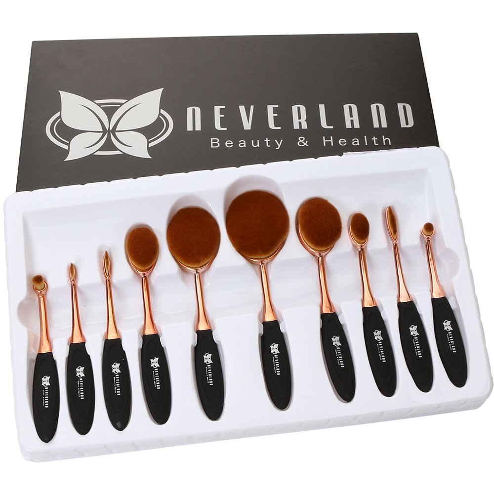 Neverland Beauty 10pcs Beauty Rose Gold & Black Toothbrush Elite Oval Make-up Brushes Set Powder Foundation Contour with Case Box