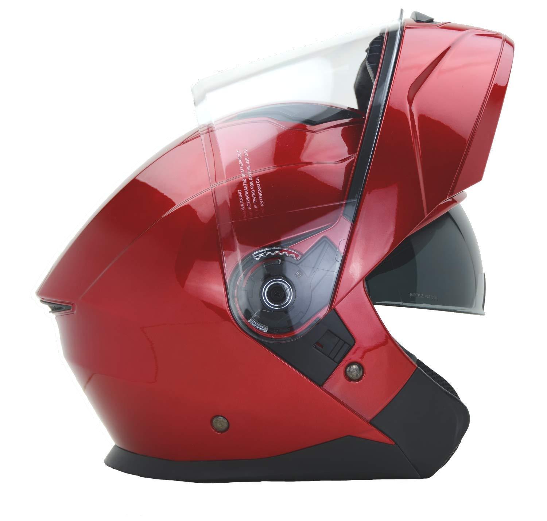 Vega Helmets Unisex-Adult Modular Motorcycle & Snowmobile Helmet 30% Larger Shield and Sunshield (Caldera Velocity Red, X-Large)