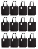 Lily Queen Natural Canvas Tote Bags DIY Reusable Shopping Grocery Bag (Black - 12 Pack)