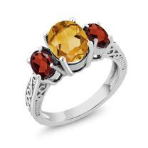 Gem Stone King 925 Sterling Silver Oval Yellow Citrine & Red Garnet 3-Stone Ring (2.25 Cttw, Gemstone Birthstone)