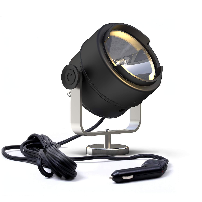 GOODSMANN Spotlight Searchlight 12V 60W 1100 Lumens 300º Halogen Work Light with Magnet Base for Marine SUV Off-Road Trucks Boat Home Security Farm Field Protection Emergency Lighting 9903-B101-01