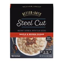 Post Better Oats Steel Cut Instant Oatmeal, whole grain, Maple and Brown Sugar flavor, 15.1 Ounce