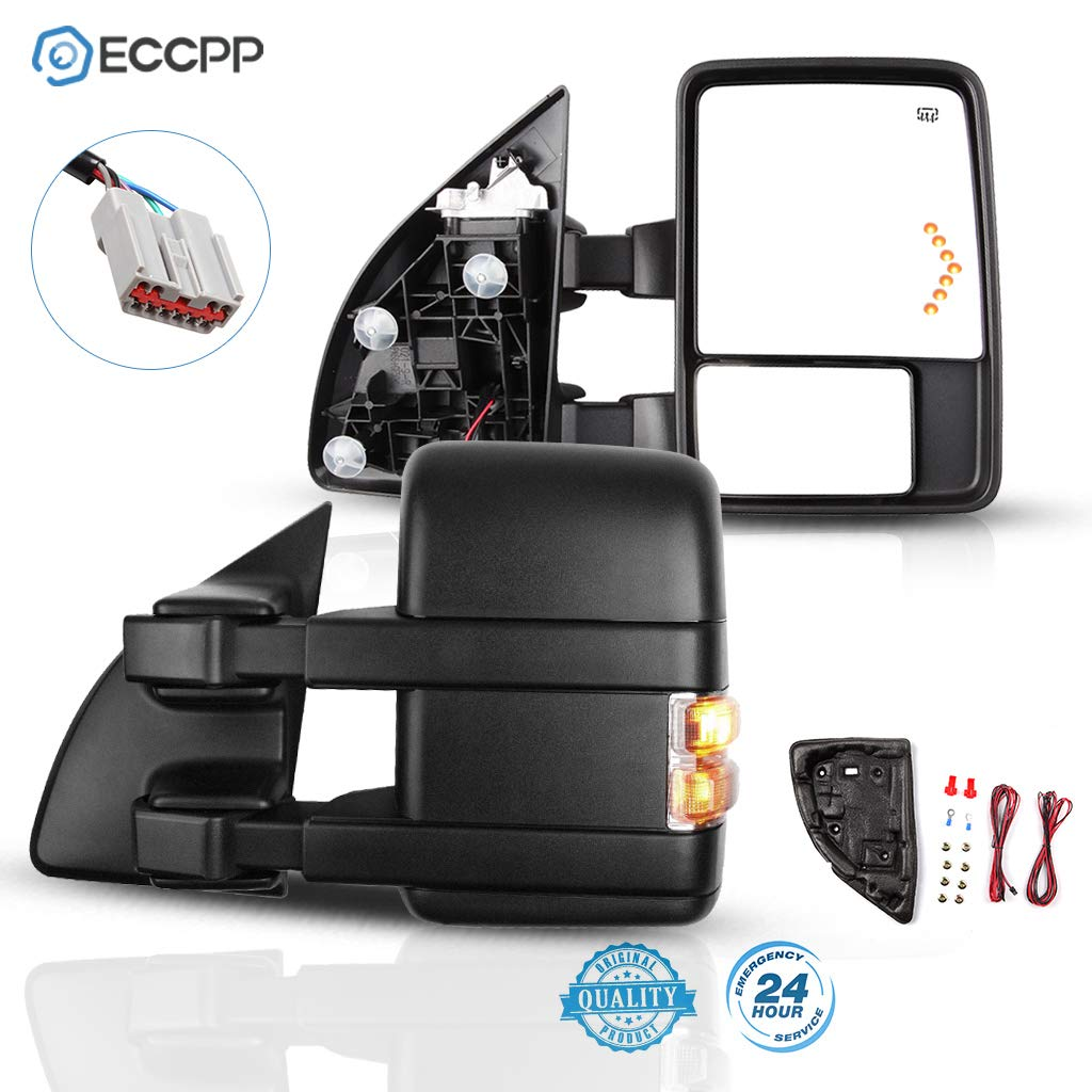ECCPP Towing Mirrors Fit for 2003-2007 F250 F350 F450 F550 Super Duty Series Tow Mirrors with Left Right Side Power Heated Light Puddle Light Arrow Led Signal Light
