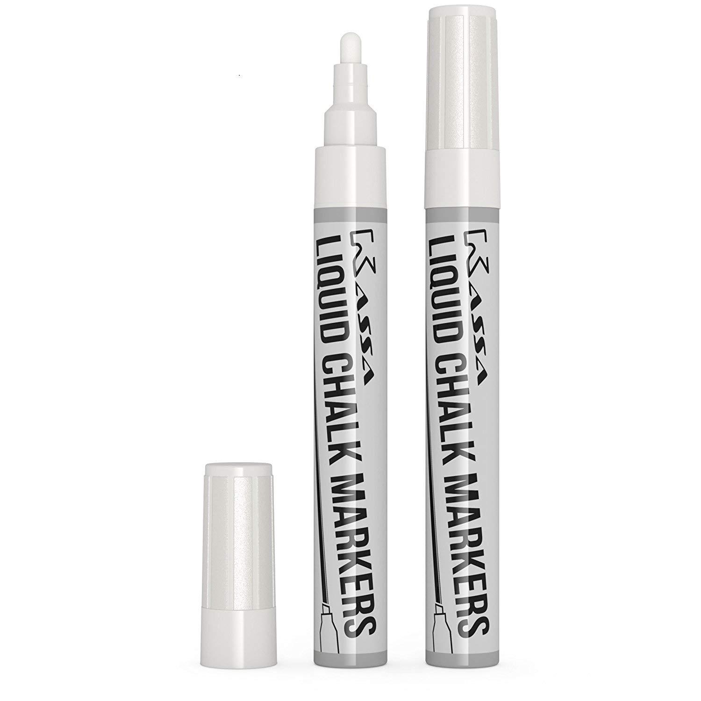 Kassa White Chalkboard Marker (2 Pack) - Liquid Chalk Markers for Blackboards - Chalkboard Pens Erases on Window, Blackboard, Mirror - Chalk Board Pen Includes Reversible Dual Tip