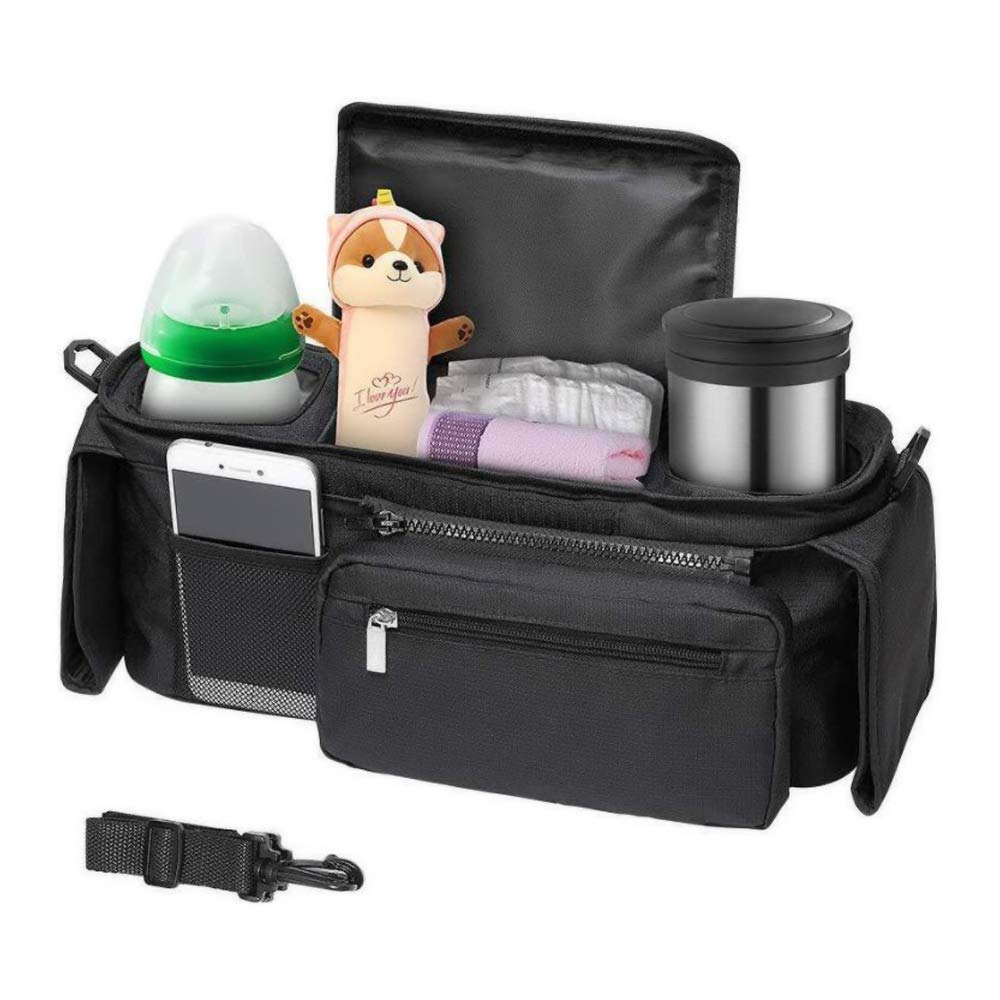 gotor Baby Stroller Organizer, Diaper Organizer Bag with Cup Holders, Adjustable Straps to Fit Most Stroller, Baby Shower Gift, Large Storage Space for iPhones, Diapers, Toys