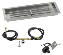 "American Fireglass SS-AFPPKIT-N-30 Natural Gas 30"" x 10"" Rectangular Stainless Steel Drop in Fire Pit Pan with Spark Ignition Kit"