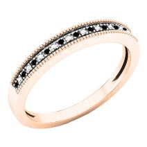 0.03 Carat (ctw) 10K Gold Round Black Diamond Ladies Milgrain Wedding Band