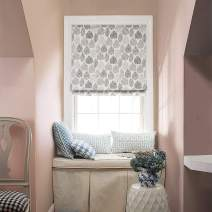"""KARUILU Roman Window Shades Window Blinds, Flat Fold, Washable, Custom Order Any Width from 14"""" to 55"""", (32W x 63H, Forest Leaves)"""