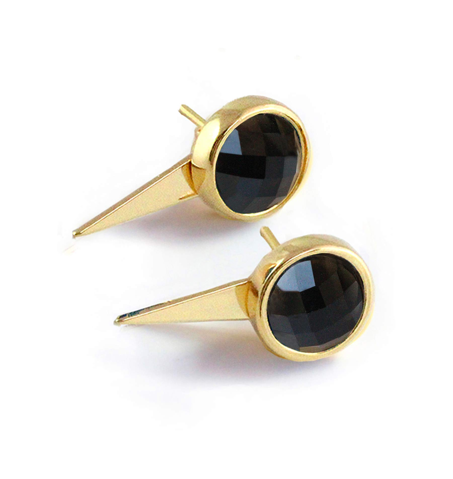 FIRE EARRING JACKETS | Black Stud Earrings For Women | 24K Gold Round Black Onyx Gemstone Ear Studs | Convertible | Triangle Spike | Minimalist | Edgy | Unique Gifts for her Jewelry