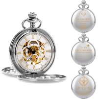 ManChDa Engraved Pocket Watch, Mens Mechanical Personalized Gift for Dad Father Husband Son Groomsman Bestman Custom Engraving Customized with Chain and Gift Box
