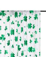 QueenDream White Sheer Backdrop 9.8ftx8ft Wedding Ceremony Background Drapes Chiffon Studio Photo Booth Backdrop Green Foil Clover Design
