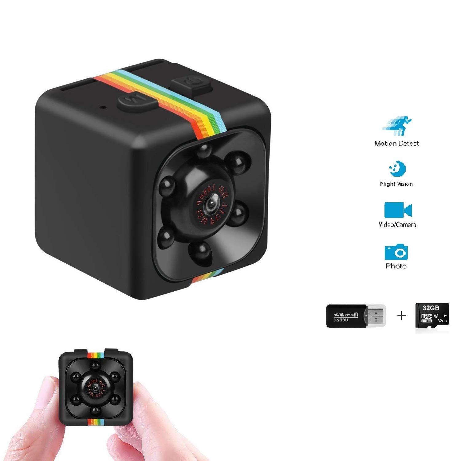 Mini Spy Camera Portable Small Surveillance Hidden Camera FHD 1080P Nanny cam with 32GB SD Card Motion Detection and Infrared Night Vision, Home Security Camera Wireless for Indoor and Outdoor