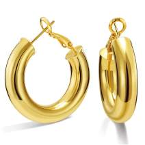 SHOWNII 14k Gold Plated Chunky Tube Hoop Earrings for Women