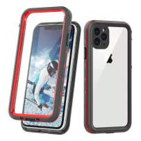 """comosso Waterproof Case Compatible with iPhone 11 Pro, Full Body Protection with Built-in Screen Protector Shockproof Rugged IP68 Certified Waterproof Cover for iPhone 11 Pro (5.8""""-Clear+Red)"""