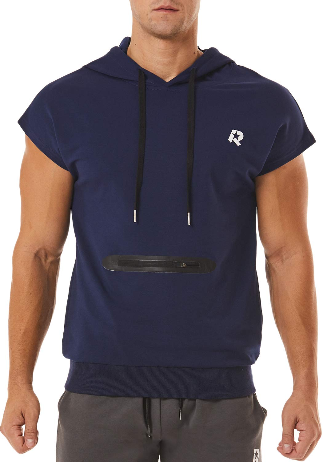 ROWILUX Men's Workout Athletic Muscle Short Sleeve Training Top with Pocket Gym Hoodies