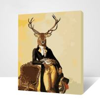 """MADE4U [Deer Series] [20""""] [Wood Framed] Paint by Numbers Kit with Brushes and Paints (Deer THSJ004-XL)"""
