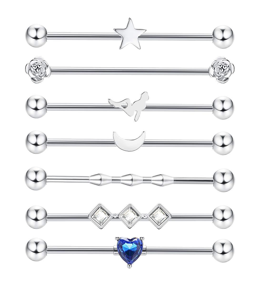 JOERICA 7 Pcs 14G Industrial Piercing for Women Men Stainless Steel Industrial Barbell Earring Cartilage Earrings Body Piercing Jewelry