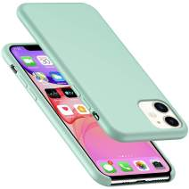 AnsTOP iPhone 11 Silicone Case, Anti-Slip Liquid Silicone Gel Rubber Bumper Cases with Soft Microfiber Cushion Slim Hard Shell Shockproof Protective Cover for iPhone 11 (6.1 inch), 2019 - Mint Green