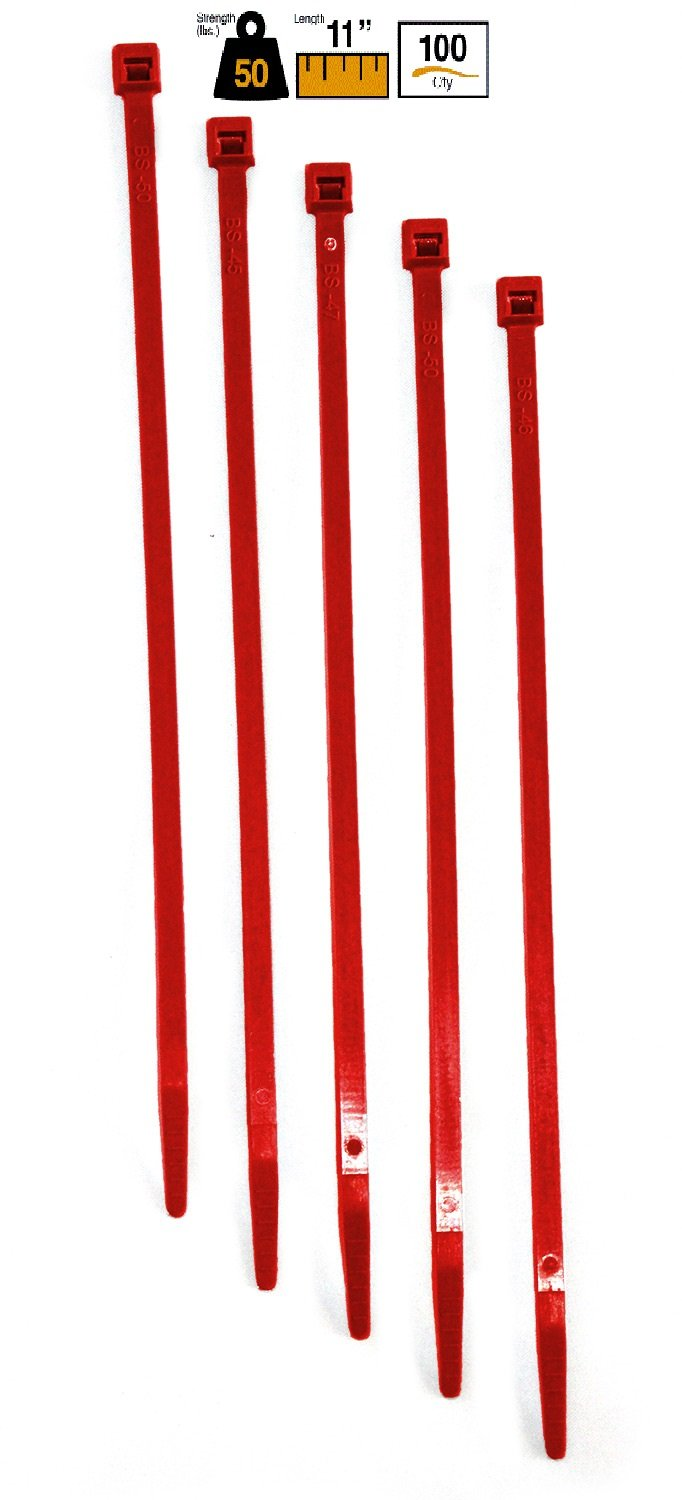"""BuyCableTies 14"""" Standard Indoor Cable Ties - 50 lb Rated - Made in USA - Red - 100 per bag"""