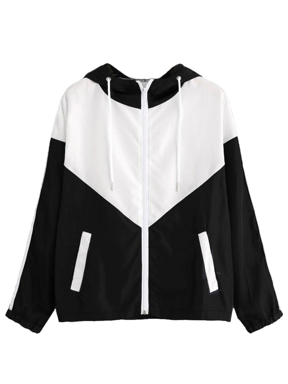Milumia Women's Color Block Drawstring Hooded Zip Up Lightweight Rain Jacket Hooded Windbreaker